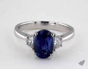 Platinum - 3.00ct Oval- - Blue Sapphire - Mirage Ring