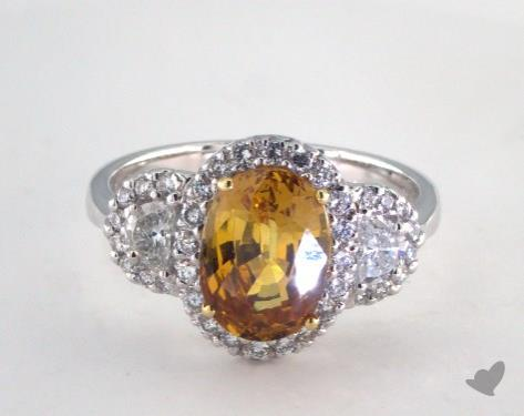 18K Two Tone 3.19ct  Oval Shape Yellow Sapphire Ring