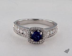 18K White Gold  0.45ct  Round Blue Sapphire Princess Shape Halo Ring