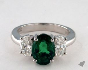 Platinum 2.15ct  Oval Shape Green Emerald Three Stone Ring