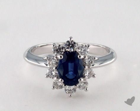 18K White Gold 1.09ct  Oval Shape Blue Sapphire Starburst Ring