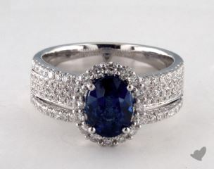 18K White Gold 2.06ct  Oval Shape Blue Sapphire Hi Lo Ring