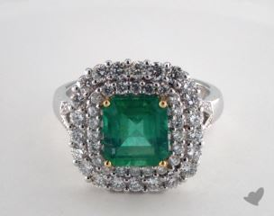 18K Two Tone 2.25ct  Green Emerald Split Shank Halo Ring