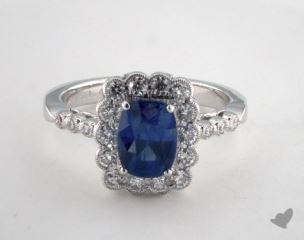 18K White Gold 1.43ct Oval Blue Sapphire Scallop Halo Ring