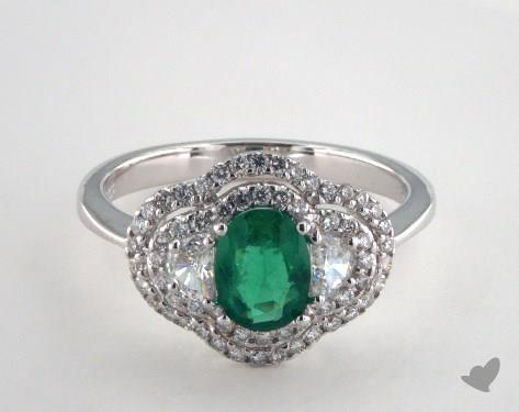 18K White Gold  0.65ct  Oval Shape Green Emerald Double Halo Ring