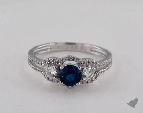 18K White Gold  0.56ct  Round Blue Sapphire Floating Halo Ring