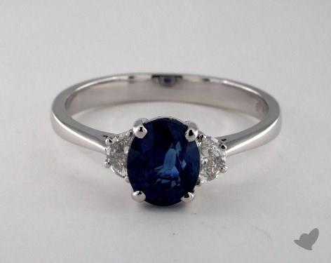 18K White Gold 1.67ct  Oval Shape Blue Sapphire Ring