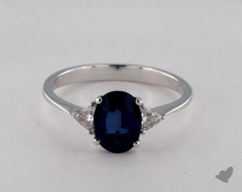 18K White Gold 1.69ct  Oval  Blue Sapphire Ring
