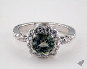 18K White Gold 1.76ct  Cushion Shape Green Sapphire Scallop Halo Ring