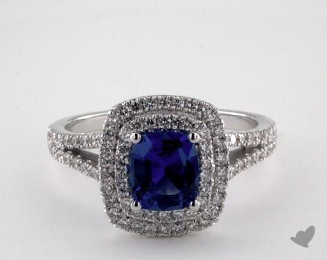 18K White Gold 1.12ct  Cushion Shape Blue Sapphire Split Shank Ring