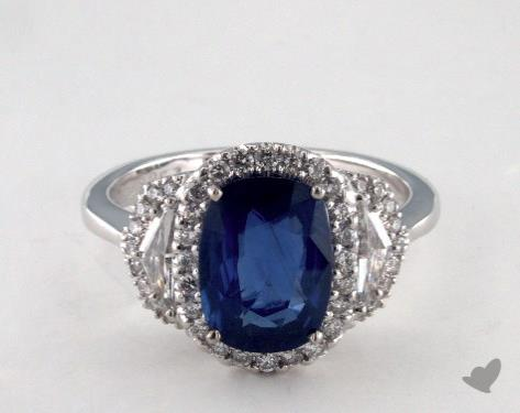 18K White Gold 2.57ct Oval Shape Blue Sapphire Engagement Ring