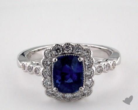 18K White Gold 1.29ct  Cushion Shape Blue Sapphire Scallop Halo Ring