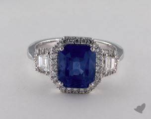 18K White Gold 3.76ct  Emerald Shape Blue Sapphire Ring