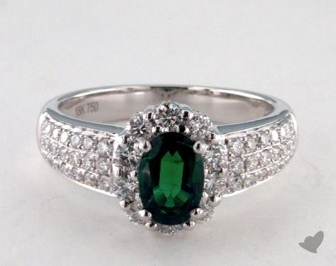 18K White Gold  0.76ct  Oval Shape Green Emerald Ring