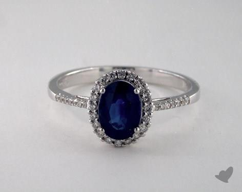 18K White Gold 1.20ct  Oval Shape Blue Sapphire Halo Ring