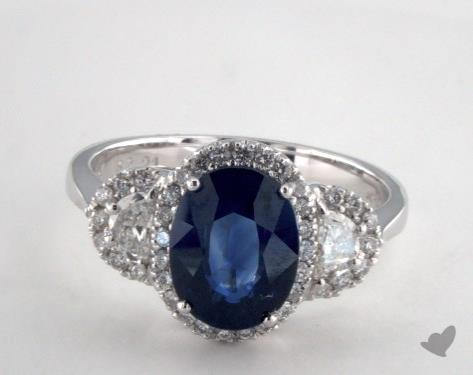 18K White Gold 2.21ct  Oval Blue Sapphire Ring