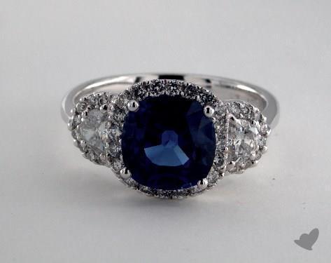 18K White Gold 3.15ct  Cushion Shape Blue Sapphire Ring
