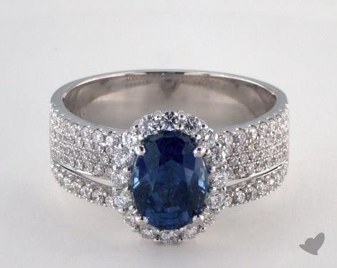 18K White Gold 1.85ct  Oval Shape Blue Sapphire Hi Lo Ring