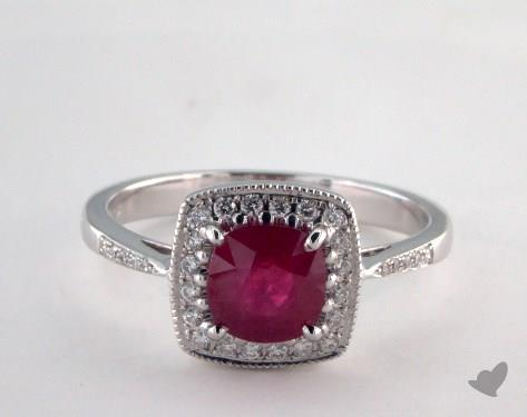 18K White Gold 1.19ct  Cushion Shape Ruby Halo Ring