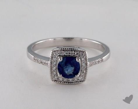 18K White Gold 0.55ct  Round Blue Sapphire Pave Cushion Frame Ring