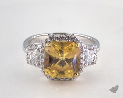 18K White Gold  5.41ct  Radiant  Shape Yellow Sapphire Ring