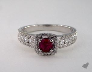 18K White Gold 0.45ct  Round Ruby Princess Shape Halo Ring