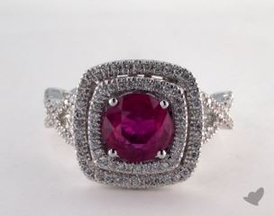18K White Gold - 1.95ct Round- - Ruby - D?j? Vu Ring
