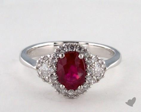 18K White Gold 1.32ct Oval Shape Ruby Ring