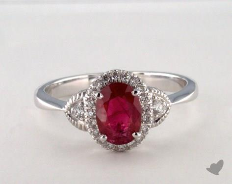 18K White Gold 0.21ct  Oval Shape Ruby Halo Ring
