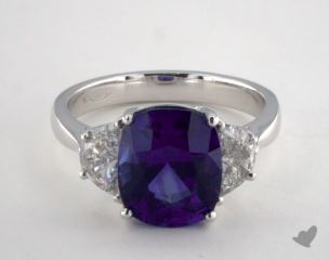 Platinum - 4.54ct Cushion- - Blue Sapphire - Forte Ring