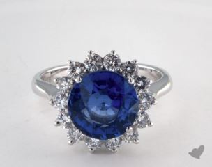 18K White Gold  4.38ct  Round Blue Sapphire Starburst Ring