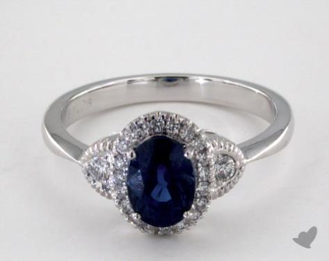 18K White Gold 1.25ct Oval Blue Sapphire Halo Engagement Ring