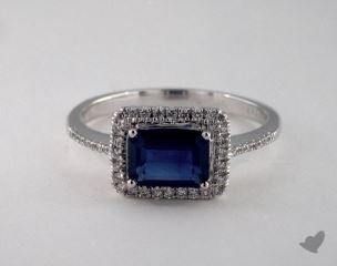 18K White Gold 1.11ct  Emerald  Shape Blue Sapphire Halo Ring