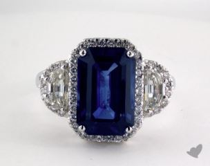 18K White Gold 6.00ct  Emerald Shape Blue Sapphire Ring