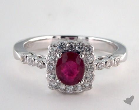 18K White Gold  0.70ct  Cushion Shape Ruby Scallop Halo Ring