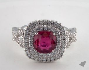 18K White Gold 1.56ct  Cushion Shape Ruby Double Halo Ring