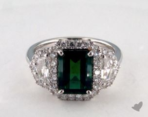 Platinum 2.28ct  Green Emerald Ring