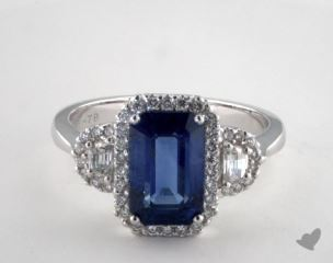 18K White Gold 2.78ct  Emerald Shape Blue Sapphire Ring