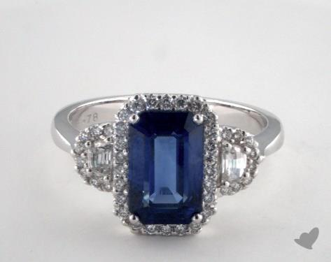18K White Gold 2.78ct  Emerald Shape Blue Sapphire Ring