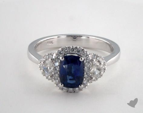 18K White Gold 1.11ct  Cushion Shape Blue Sapphire Ring