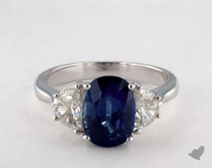 18K White Gold  3.13ct  Oval  Shape Blue Sapphire Ring