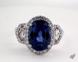 Platinum 6.80ct  Oval Shape Blue Sapphire Ring