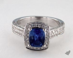 18K White Gold - 1.28ct Cushion- - Blue Sapphire - Bodin Ring