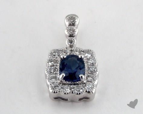 18K White Gold - 0.50ct Oval- - Blue Sapphire Pendant