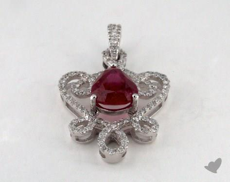 18K White Gold - 1.75ct  - Heart - Ruby Pendant