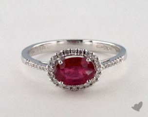 18K White Gold 1.05ct  Oval Shape Ruby Halo Ring
