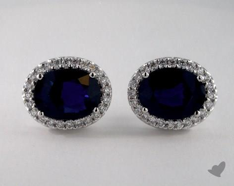 18K White Gold  Diamond Halo 3.40tc Oval Blue Sapphire Earrings.