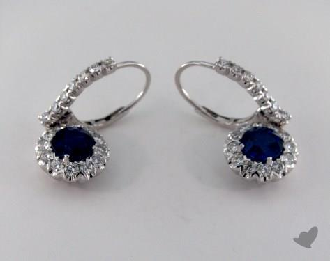 18K White Gold Leverback Dangle 2.35tcw  Diamond and Round  Blue Sapphire Earrings.