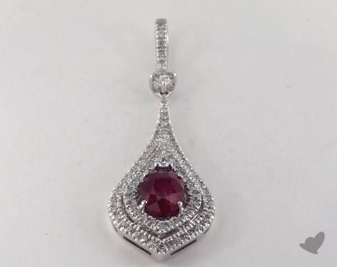 18K White Gold - 1.10ct  - Oval - Ruby Pendant