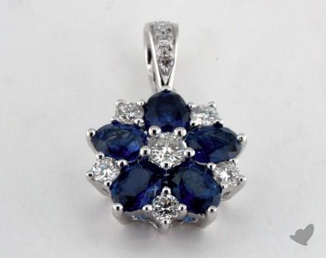 18K White Gold - 1.10ct Oval- - Blue Sapphire Pendant